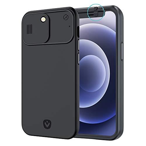 Spy-Fy Funda para iPhone 12 Pro Max con tapa deslizante para cámara frontal y trasera, protege tu privacidad   2 metros de protección contra caídas   negro mate