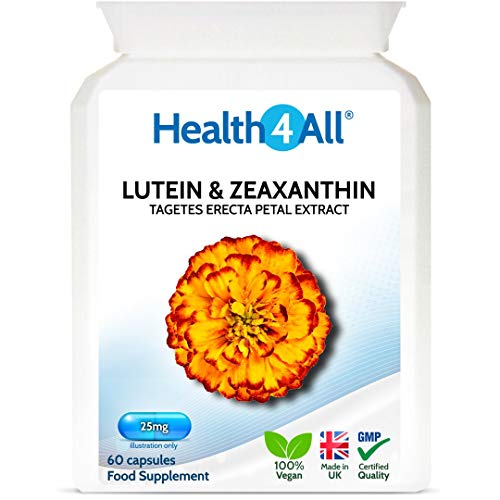 Lutein 25mg with Zeaxanthin Capsules for Eye Health and Blue Light Protection. Vegan. Made by Health4All, 60 Capsules (V)
