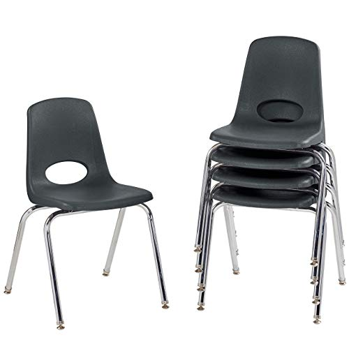 FDP 18' School Stack Chair,Stacking Student Seat with Chromed Steel Legs and Nylon Swivel Glides; for in-Home Learning, Classroom or Office - Black (5-Pack)