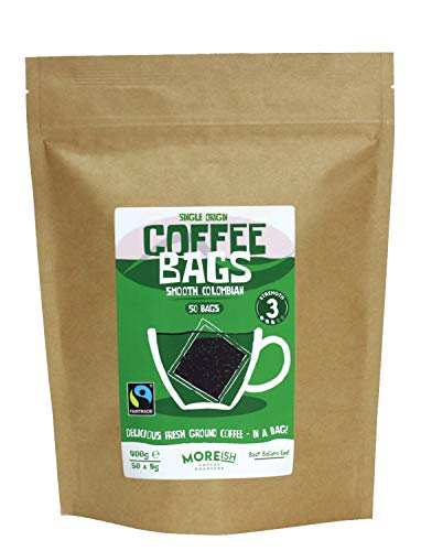 Moreish Coffee Bags - Smooth Colombian Fairtrade (50 Single Origin Coffee Bags)