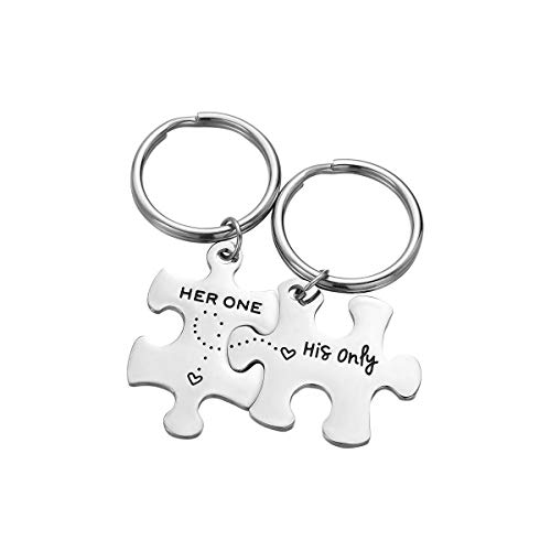Vosarea 2pcs / Set Her One His Only Couple Letters Llavero Set Regalos para Marido Esposa Novio Novia