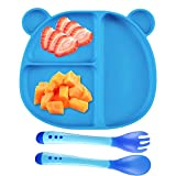 Assiette à Ventouse pour Bébé Silicone + 1 Cuillère en Silicone + 1 Fourchette avec Ventouse Antidérapant avec 3 Compartiments (Bleu)