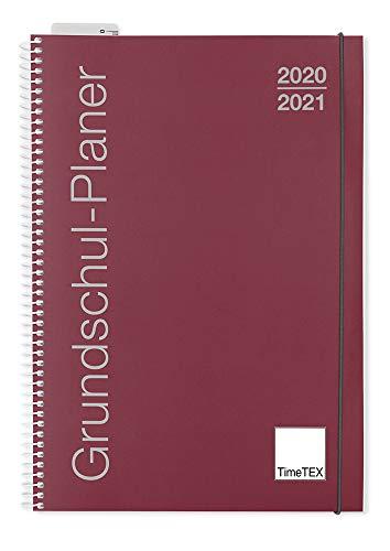 TimeTEX Grundschul-Planer mit Ringbindung - A4 bordeaux - Schuljahr 2020-2021 - Terminplaner für die Grundschule - Lehrerkalender - Schulplaner - 10416