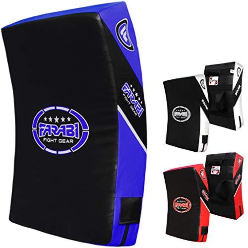 Farabi Quad Curved Strike Shield Training Arm Pad Boxing MMA Muay Thai Kick Boxing Punching Kick Shield Taekwondo Karate Martial Arts (Black Blue)