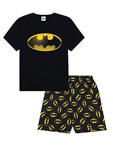 Herren-Pyjama mit Batman-Motiv, Baumwolle, kurz Gr. M, Schwarz