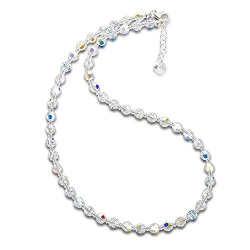 Schöner SD, Halskette aus 6mm Swarovski® Kristallperlen, Farbe: Crystal Aurora Boreale, Verschluss 925 Silber, Länge 45cm