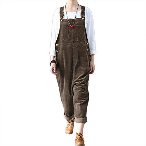 Tomwell Latzhose Damen Jumpsuit Cordoverall Vintage Overall ärmellose Riemenoverall Latzhose Braun 5XL