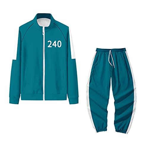 VegKey Disfraz de calamar para otoño, sudadera y pantalones de gran tamaño, disfraz de cosplay, moda Halloween 218 456, traje deportivo para hombres y mujeres, Azul 240, M