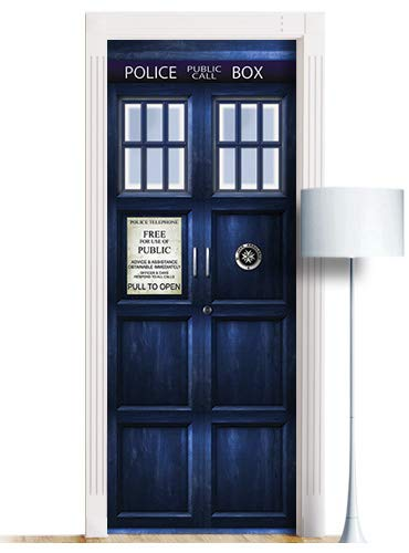 London Police Box Sticker for Door, Wall or Fridge - ONE Piece Peel & Stick Removable Mural, Decole, Skin, Wrap, Decal, Cover, Poster by WonderlandWalls. All Sizes! (30x80)