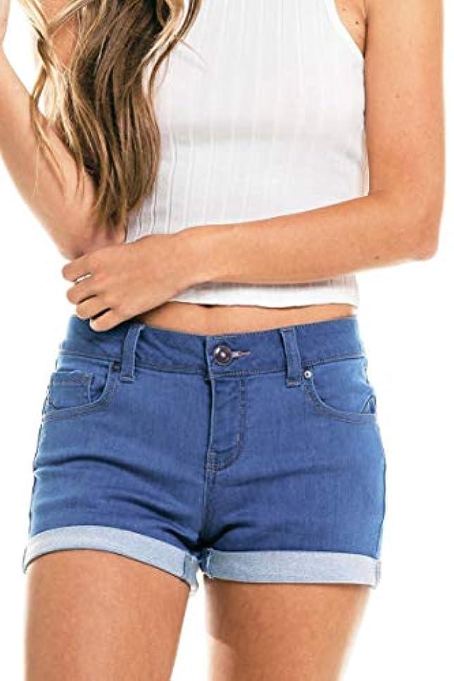 Wax Women's Juniors Mid-Rise Denim Shorts