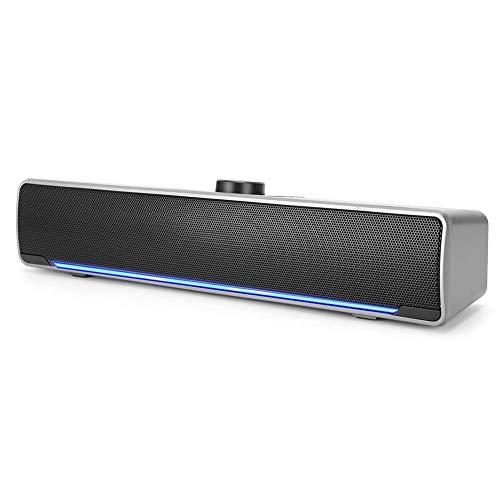 Garsentx Barras de Sonido, 3W 2.0 Canales Mini Multimedia Soundbars Altavoz con DSP Bass Technology Notebook para Home Theater, TV, PC, etc.(Plata)