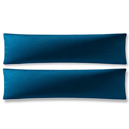 DEZENE Fundas de Cojín Azul Oscuro: Paquete de 2 Fundas de Almohada Decorativas Rectangulares Lisas de Terciopelo Liso de 40x145 cm para Sofá de Granja