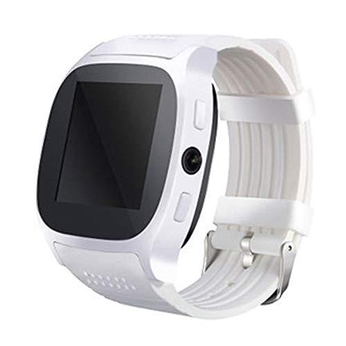 QFSLR Smartwatch Reloj Deportivo con Llamada Bluetooth Música Bluetooth Seguimiento del Sueño Fotografía Remota Relojes para Hombre,Blanco