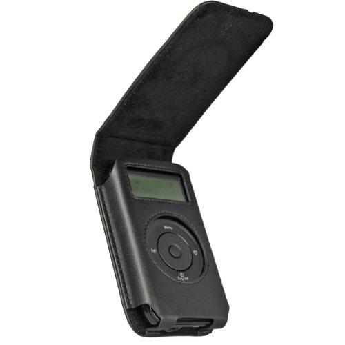 iGadgitz U1209 Schwarz Original Ledertasche case Echt Leder Tasche Kompatibel mit Pure Move 2500 Wiederaufladbare Personal Digital DAB Radio