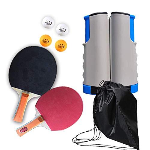 GGOODD Paquete De Tenis De Mesa, Juego De Ping-Pong Todo En Uno, Juego De Raquetas De Tenis De Mesa Profesional con Bolas De Juego Y Red Retractil Jugar En Interiores O Exteriores,C