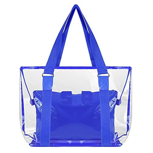 Comius Sharp Bolso Transparente, Transparente Bolso de Maquillaje Bolsa de Hombro, Bolso de Playa de Moda, PVC Impermeable Bolso de Mano para Playa/Viajes/Uso Diario (02)
