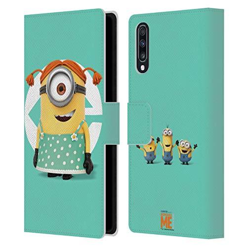 Head Case Designs Oficial Despicable Me Stuart - Disfraz de nia Esbirros Carcasa de Cuero Tipo Libro Compatible con Samsung Galaxy A70 (2019)