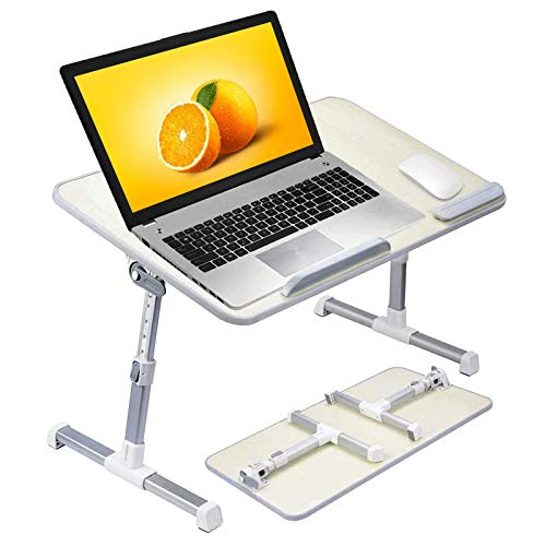 COOLBUDDY Laptop Bed Desk, Adjustable Laptop Table for Bed, Foldable Lap Desk, Notebook Computer Stand for Reading Writing on Bed Couch Sofa Floor