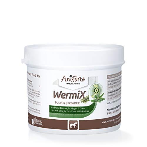 AniForte WermiX poudre pour chevaux et poneys 50g - produit naturel avant, pendant et après une infestation de vers avec des saponines, des substances amères, des tanins, de l'absinthe, des herbes naturelles harmonisent l'estomac et l'intestin