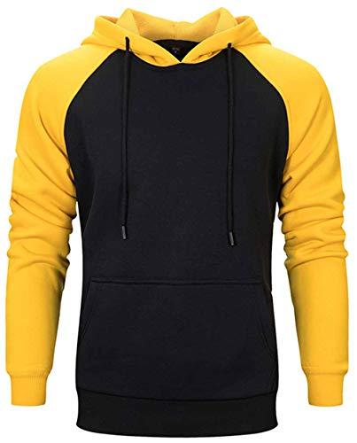 Mens Hoodie Pullover Sweatshirts Patchwork with Kanga Pocket Casual Tops Hoody