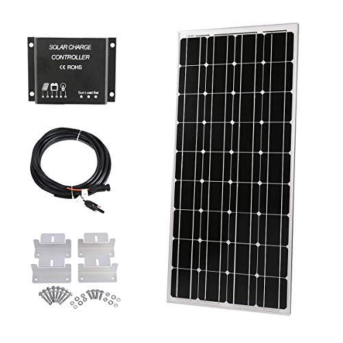SARONIC 100W Solarpanel 12V Monokristallin Solarmodul SolarKabeln - Solarzelle Photovoltaik und 12V/24V 10A LCD SolarLaderegler + 3m Adapterkabel + Montagewinkel für Wohnmobil Camping Boot