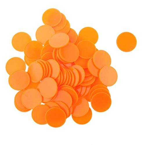 IPOTCH 100pcs 25mm Fichas De Póker De Casino Marcadores De Bingo De Plástico DIY Craft Toy Cálculo Colorido - Naranja