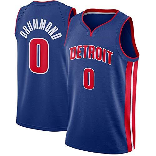 DXG NBA Detroit Pistons 0# Andre Drummond Camiseta de Baloncesto Bordado Swingman Transpirable y Resistente al Desgaste Camiseta para Fan,Azul,XXL