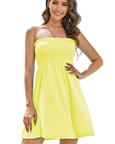 AS ROSE RICH Women's Strapless Bathing Suit Coverups Elastic Ruched Tube Top Beach Mini Dress Large A.Yellow Iris