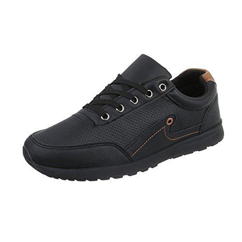 Ital Design Turnschuhe Damen-Schuhe Low-Top Schnürer Schnürsenkel Sneaker Schwarz, Gr 41, C9065-1-