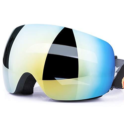JTENG Maschere da Sci Antiappannamente per Adulto,Specchio Sferico a Doppio Occhiali da Sci Antivento con Protezione UV400 e Lenti Antiriflesso,per Sci,Pattinaggio su Ghiaccio,Motocross,Paracadutismo