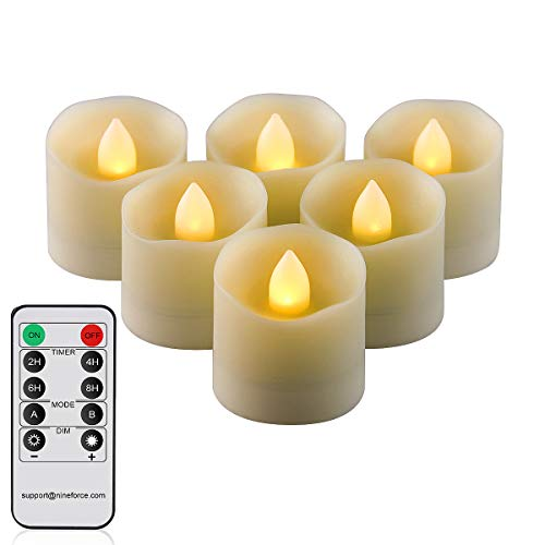 Flameless Candles with Remote LED Tealight Candles Tea Lights Votive Candle with Timer, Unscented Outdoor Flickering Warm White Flame Fake Candles, Battery Operated Candles 200 Hours - 6 Set x 1.3'