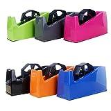 PPuujia Dispensador de cinta de oficina para papelería de escritorio Cortador de cinta adhesiva Scotch soporte para asiento de doble uso para papelería (color: envío de colores aleatorios)