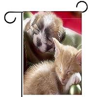 ガーデンサイン庭の装飾屋外バナー垂直旗子猫子犬睡眠 オールシーズンダブルレイヤー