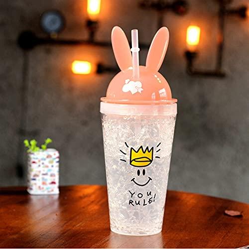 Lindo Conejo Bebiendo Botella de Paja Creativa Hielo plástico Doble Paja Chenhuanbakeyji (Color : Pink)