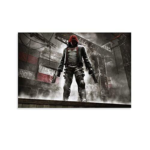 HGFDG Póster de Batman Arkham Knight con capucha roja, póster y arte de pared, diseño moderno para dormitorio familiar, 50 x 75 cm