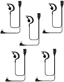 5 Pack Single Wire Earhook Earpiece with Kevlar Reinforced Cable for Motorola Radio BPR40 CP200 CP200D CP200XLS CP185 CLS1410 DTR650 PR400 RMU2040 RDU4100 CLS DLR DTR RDU RDV RMU RMV, G Shape Headset