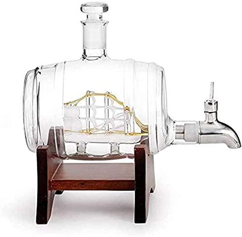 MFLASMF Decantadores de licor de whisky de vidrio reutilizables, 1000 ml, con marco de madera, 2 vasos de cristal de 3,11 (color transparente, tamaño: 1000 ml)