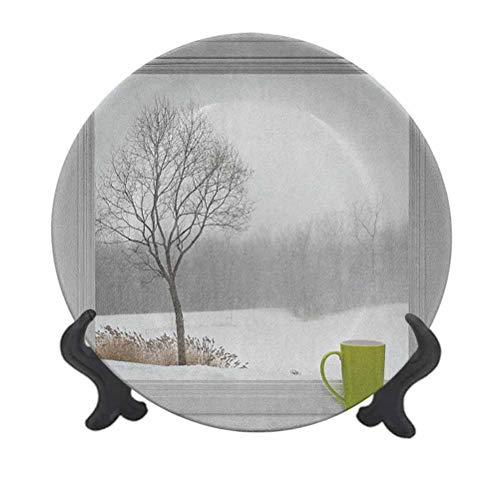 Piatto decorativo in ceramica invernale, 20,3 cm, tazza da tè verde sul davanzale della finestra foresta all'aperto tempesta di neve scenico campagna decorativo piatto da tavola per Natale