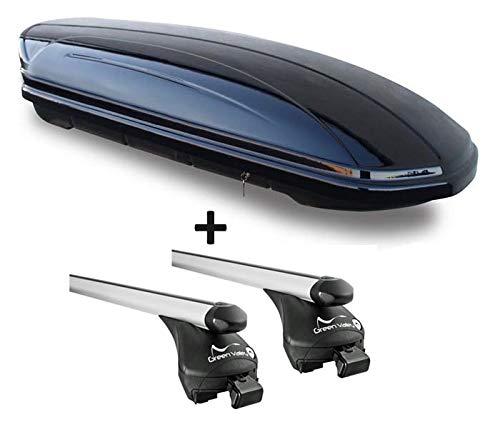 Skibox zwart glanzend VDP-MAA 460G 460 liter afsluitbaar + aluminium dakdrager Quick voor liggende reling in set voor aluminium BMW Serie 3 Touring F31 vanaf 2012