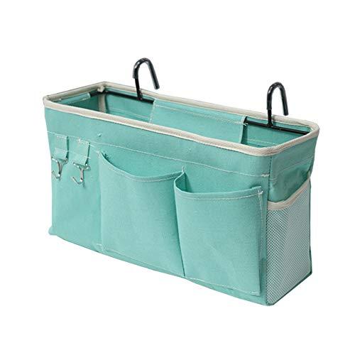 Loghot Bedside Caddy/Bedside Storage Bag Hanging Organizer for Bunk and Hospital Beds,Dorm Rooms Bed Rails,Can be Placed Glasses,Books,Mobile Phones,Keys (Light Blue)