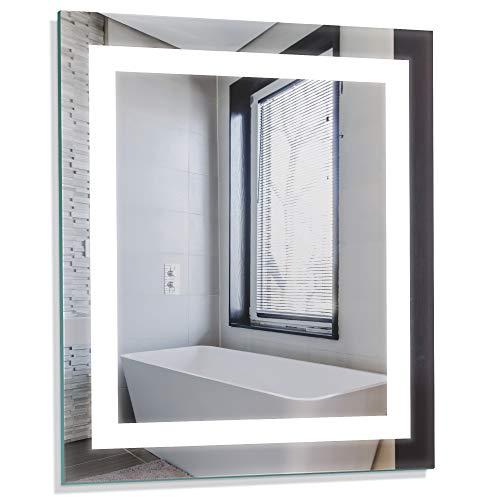 "Homewerks 100150 24""x30"" LED Bathroom Mirror, Anti Fog Wall Mounted Horizontal or Vertical Vanity, 5000 Kelvin, Bright White Daylight Color Temperature Light, 24"