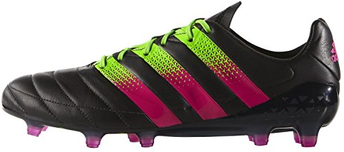 adidas ACE 16.1 FG/AG LEATHER, CBLACK/SHOPIN/SGREEN, 11