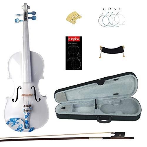 Kinglos 4/4 White Ebony Fitted Solid Wood Violin Kit with Case, Shoulder Rest, Bow, Extra Bridge and Strings Full Size (JY005)