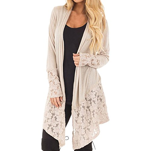 WHSHINE Frauen Mode Herbst Spitze Patchwork Langarm Casual Pure Color Cardigan Mantel Moderne Jacken Winterjacken Damenjacken warme Casual Stylische Longjacke (Khaki,M)