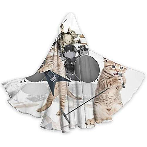 Role Play Dress Up,Wizard Cape,Mannen Vrouwen Lengte Mantels, Volwassen Capuchon Mantel,Rocker Band Of Kittens Singer Gitarist Katten Mantel Cape,Party Cosplay Costume,Halloween Capuchon Mantels