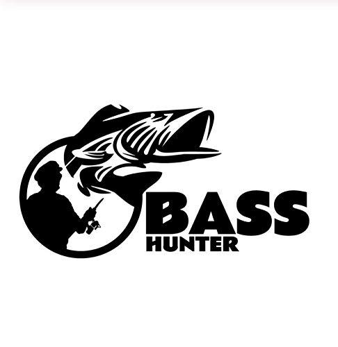Samorou Auto Aufkleber Motoo Aufkleber Bass Hunter Fisch Mode Auto Styling Vinyl Auto Aufkleber Schwarz 5 Stück 13,6 cm X 7,3 cm