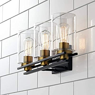 """Demy Vintage Industrial Wall Light Oil Rubbed Bronze Gold Hardwired 20"""" Wide 3-Light Fixture Clear Glass Cylinder for Bathroom Vanity Mirror - Possini Euro Design"""