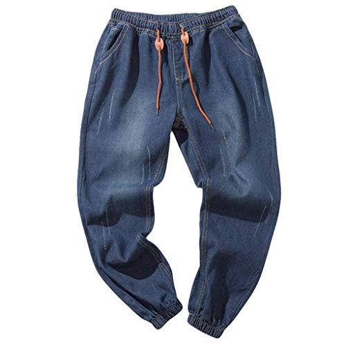 TEBAISE Herren Jeans Hose Denim Stretch Regular Fit Jeanshose Stonewashed Jogginghose Sweathose Jeansoptik Bund und Saum mit Gummizug(Dunkel blau,L)