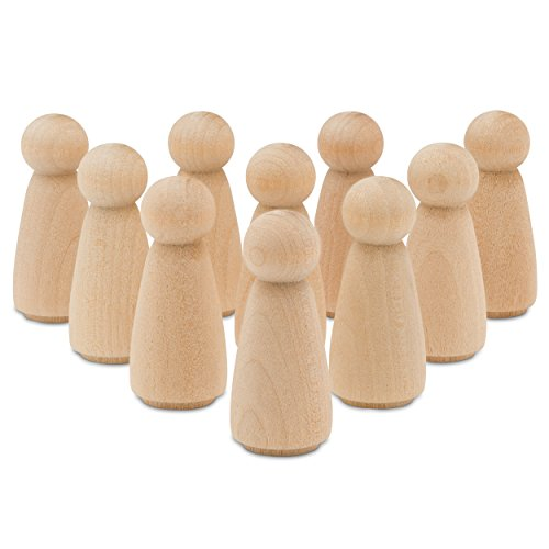 Peg Doll Angel Wood Bodies 2 Inch Pack of 25, Wooden Peg People for Crafting by Woodpeckers