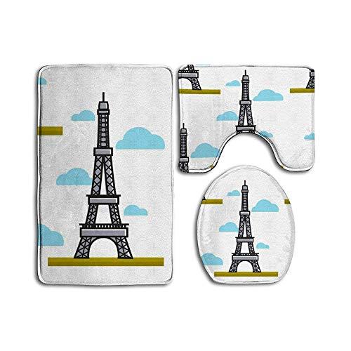 Juego de 3 alfombrillas de baño antideslizantes para baño o ducha, diseño de la Torre Eiffel de París